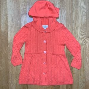 LOFT hooded orange cardigan